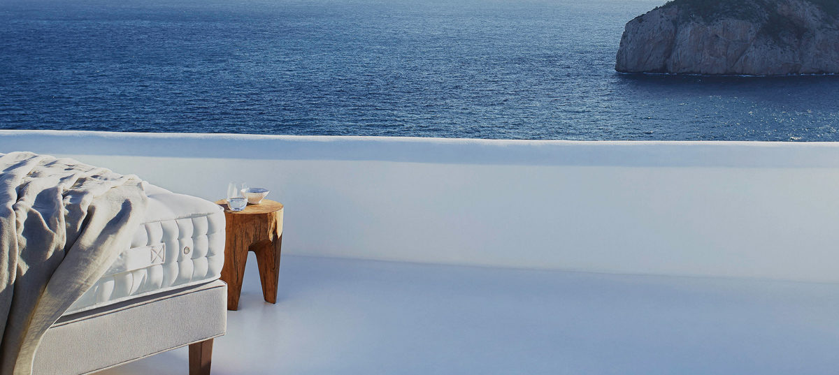 Vispring mattress by the ocean